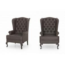 Каминное кресло с ушами Антик браун