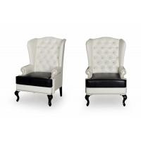 Каминное кресло с ушами Стейнлесс вайт 002+Стейнлесс черный